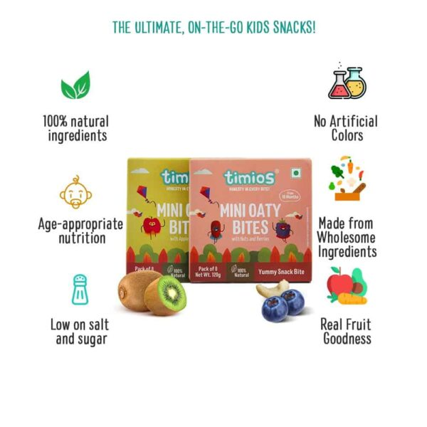 Buy Timios - Mini Oaty Bites Apple & Kiwi + Nuts & Berries Combo - (2x120g) - (100% Natural) Online