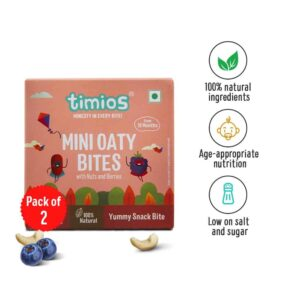 Shop Timios - 100% Natural Mini Oaty Bites Nuts & Berries Energy Bars - 120g Online