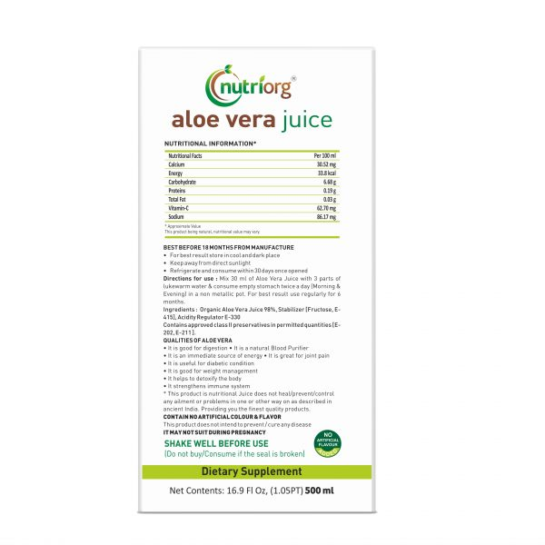 Buy Nutriorg - Aloe Vera Juice - 500ml (100% Natural) Online