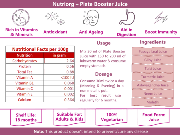 Buy Nutriorg - Plate Booster Juice - 500ml (100% Natural) Online