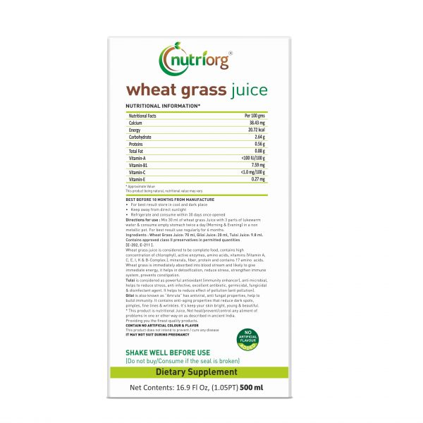 Buy Nutriorg - Wheatgrass Juice - 500ml (100% Natural) Online