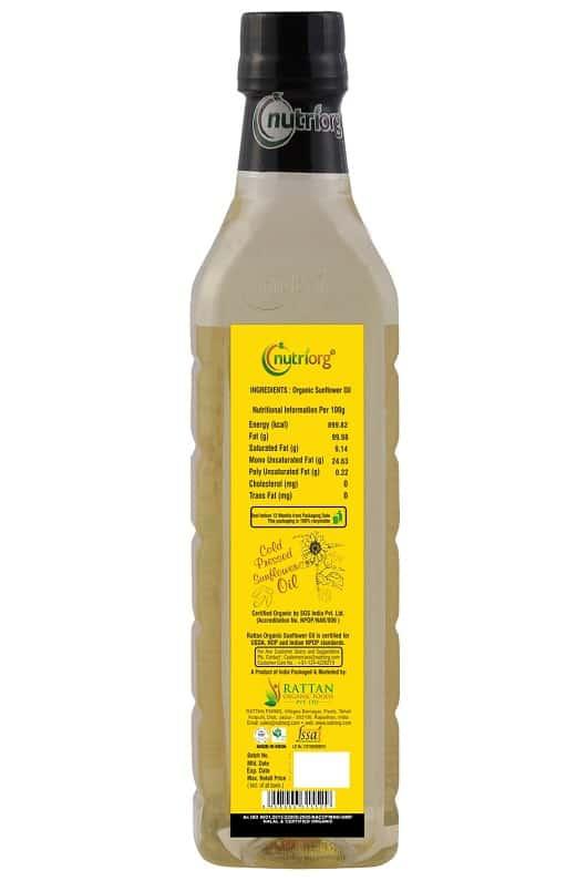 Buy Nutriorg - Sunflower Oil Glass Bottle - 500ml (Certified Organic) Online