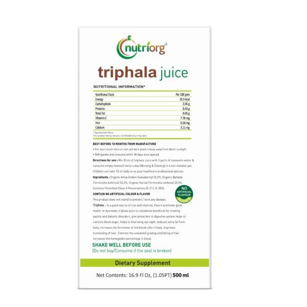 Buy Nutriorg - Triphala Juice - 500ml (100% Natural) Online