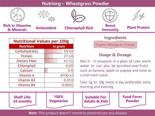 Buy Nutriorg - Barley Grass Powder Dietary Supplement - 100g (Organic | 100% Natural) Online