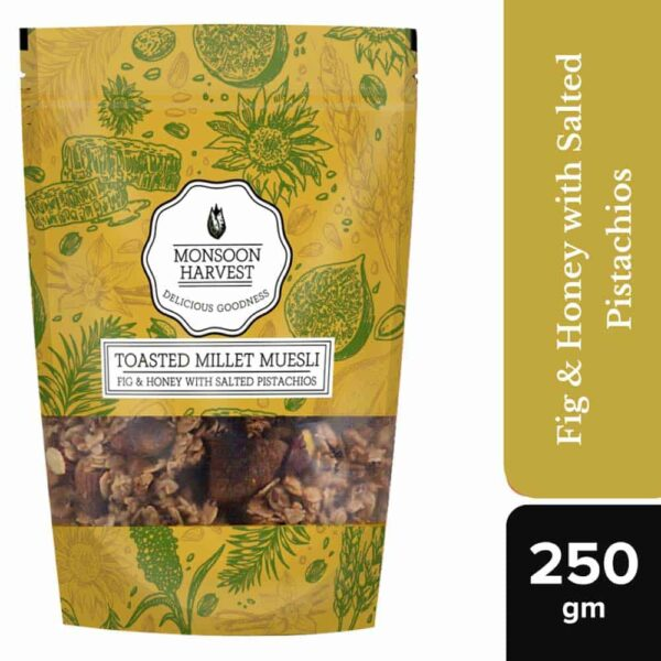 Buy Monsoon Harvest - Fig & Honey with Salted Pistachios Toasted Millet Muesli - 250g (High Fiber) Online
