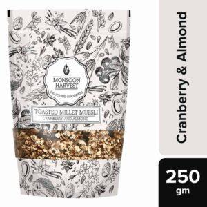 Buy Monsoon Harvest - High Fiber Cranberry and Almond Toasted Millet Muesli - 250g Online