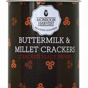 Shop Monsoon Harvest -  Baked Cracked Black Pepper, Buttermilk & Millet Crackers - 100g Online