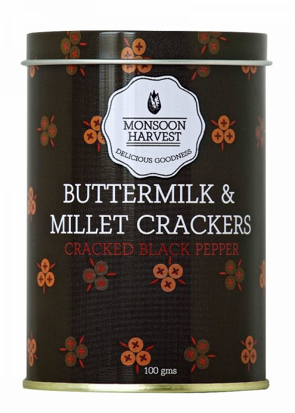 Buy Monsoon Harvest - Cracked Black Pepper, Buttermilk & Millet Crackers - 100g (Baked) Online