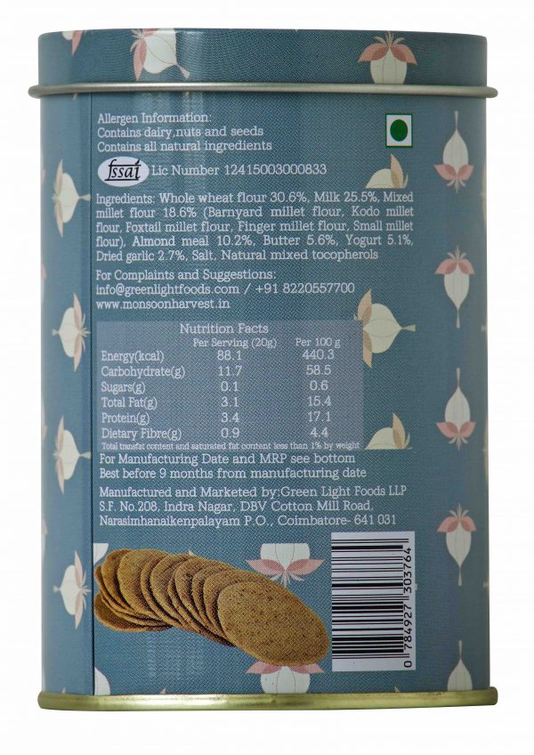 Buy Monsoon Harvest - Roasted Garlic, Buttermilk & Millet Crackers - 100g (Baked) Online