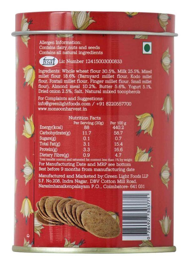 Buy Monsoon Harvest - Cracked Black Pepper, Buttermilk & Millet Crackers - 100g (Baked) Online