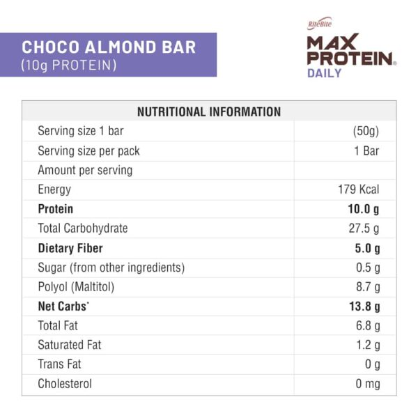 Buy Ritebite - Max Protein Daily Choco Almond Protein Bars - Pack of 6 (50g x 6) - (High Protein | High Fiber) Online