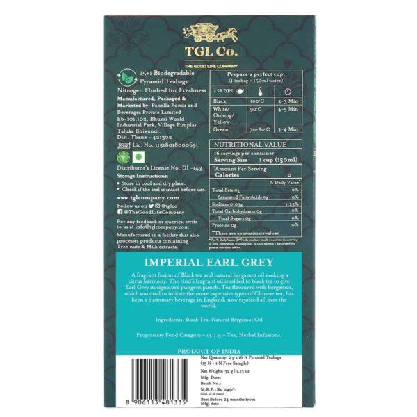 Buy TGL - Imperial Earl Grey Black Tea - 16 Tea Bags (Black Tea & Bergamot Oil) Online