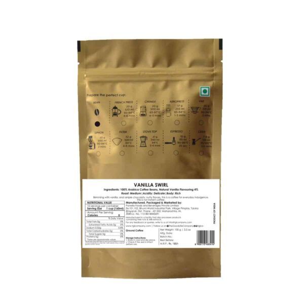 Buy TGL - Coarse Ground Coffee - 100g (Vanilla Swirl Flavoured) Online