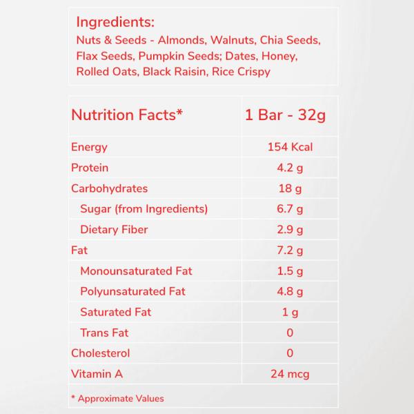 Buy BARADAY - HeartyBite Standard Superfood Energy Bars - 32g x 10 Online