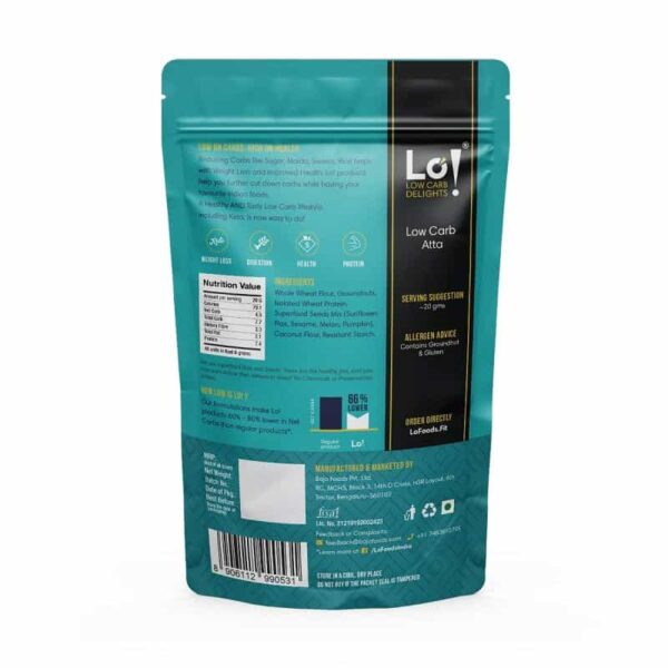 Buy Lo! Foods - Low Carb Atta, Multigrain Flour - 500g (High Fibre | High Protein) Online