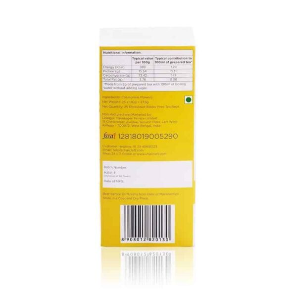 Buy Chai Craft - Chamomile Herbal Infusion Tea Bags (25 Bags) - 27.5g (Refreshing End of The Day) Online